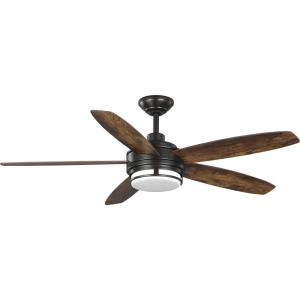 Albin - Wide - Ceiling Fan - 1 Light - Handheld Remote - Damp Rated in Transitional style - 54 Inches wide by 15.61 Inches high