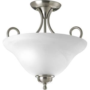 Two Light Semi Flush Mount with Alabaster Glass