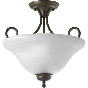 Alabaster Glass - Two Light Semi FLush