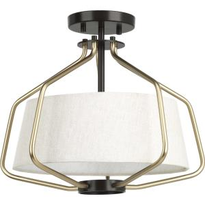 Hangar - Close-to-Ceiling Light - 2 Light - Drum Shade in Farmhouse style - 16 Inches wide by 13.25 Inches high