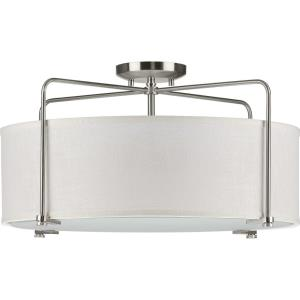 Kempsey - 11 Inch Height - Close-to-Ceiling Light - 3 Light - Flat Round Shade - Line Voltage