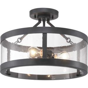 Gresham - 12 Inch Height - Close-to-Ceiling Light - 3 Light - curved Shade - Line Voltage