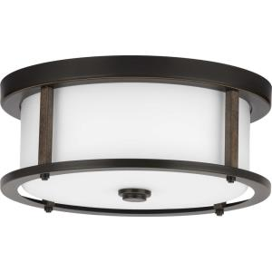 Mast - Close-to-Ceiling Light - 2 Light - Round Shade in Coastal style - 13 Inches wide by 5.25 Inches high