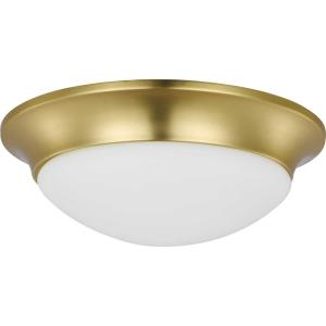 Etched Glass Close-to-Ceiling - Close-to-Ceiling Light - 2 Light - Bowl Shade in Luxe and Transitional style - 14 Inches wide by 4.63 Inches high