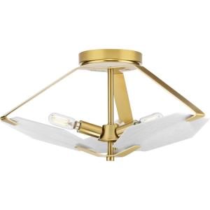 Rae - Close-to-Ceiling Light - 3 Light in Luxe and Mid-Century Modern style - 18 Inches wide by 8.5 Inches high