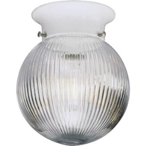 Glass Globes - 7.25 Inch Height - Close-to-Ceiling Light - 1 Light - Globe Shade - Line Voltage - Damp Rated