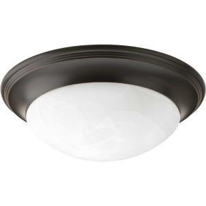 Alabaster Glass - Close-to-Ceiling Light - 3 Light - Bowl Shade in Transitional and Traditional style - 16.63 Inches wide by 5.44 Inches high