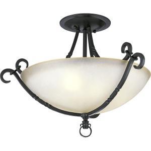 Santiago Traditional/Classic 3 Light Ceiling Fixture Ceramic/Steel
