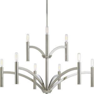 Draper - Chandeliers Light - 9 Light in Luxe and Mid-Century Modern style - 32 Inches wide by 21.75 Inches high