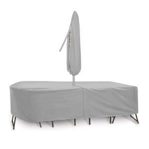 "108x80"" Oval/Rectangular Table and Chair Cover with Umbrella Hole"