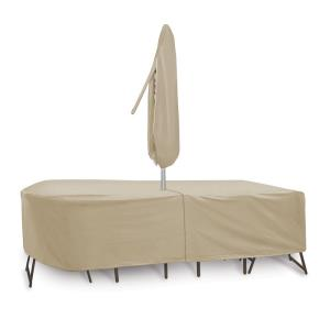 "120x80"" Oval/Rectangular Table and Chair Cover with Umbrella Hole"