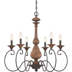 Auburn Chandelier 6 Light  Wood - 28 Inches high