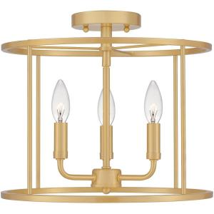 Abner - 3 Light Semi-Flush Mount in Transitional style - 14 Inches wide by 11.75 Inches high