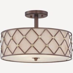 Brown Lattice - 3 Light Semi-Flush Mount
