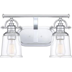 Grant 2 Light Transitional Bath Vanity Approved for Damp Locations - 9.5 Inches high