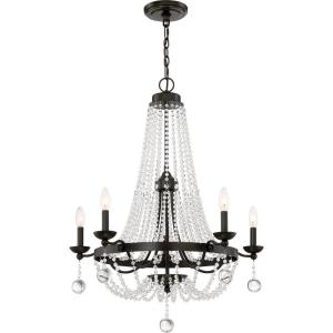 Livery Large Chandelier 5 Light  Metal/Crystal - 34 Inches high