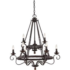 Noble Chandelier 9 Light  Steel