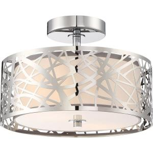 Platinum Abode - 2 Light Small Semi-Flush Mount - 8.5 Inches high