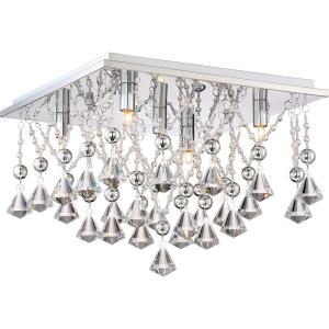 Platinum Crystal Drape - 5 Light Medium Flush Mount