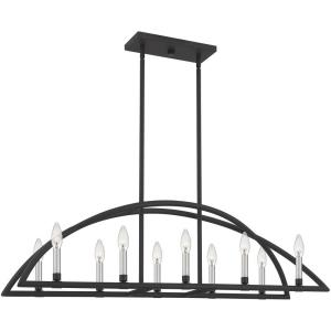 10 Light Linear Chandelier in Transitional style - 43 Inches wide by 12 Inches high
