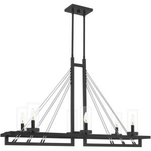 6 Light Linear Chandelier in Transitional style - 42 Inches wide by 26.25 Inches high