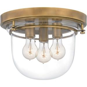 3 Light Flush Mount in Transitional style - 13 Inches wide by 9.5 Inches high