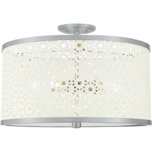 5 Light Semi-Flush Mount in Transitional style - 19 Inches wide by 13.5 Inches high