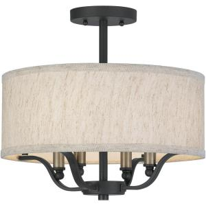 4 Light Semi-Flush Mount in Transitional style - 15 Inches wide by 14.25 Inches high
