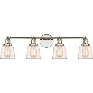 Union 4 Light Transitional Extra Large Bath Vanity Approved for Damp Locations - 9 Inches high