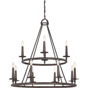 Voyager Chandelier 12 Light Steel - 36 Inches high