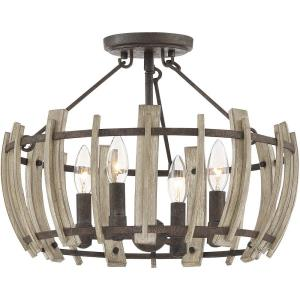 Wood Hollow - 4 Light Semi-Flush Mount