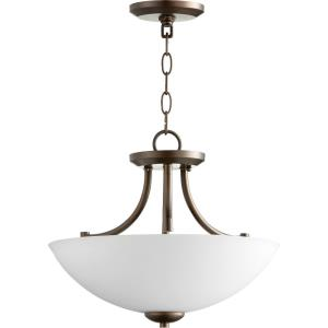 Barkley - 3 Light Dual Mount Convertible Pendant in Quorum Home Collection style - 15 inches wide by 12 inches high