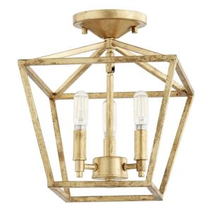 Gabriel - 3 Light Semi-Flush Mount in Quorum Home Collection style - 10.25 inches wide by 12 inches high