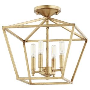 Gabriel - 4 Light Semi-Flush Mount in Quorum Home Collection style - 13 inches wide by 13.75 inches high