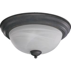 2 Light Flush Mount in Quorum Home Collection style - 13.5 inches wide by 6 inches high