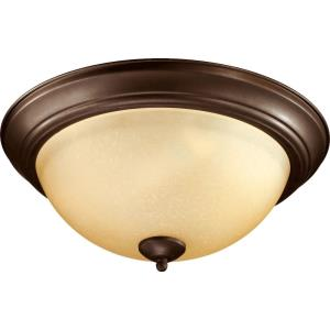 3 Light Flush Mount in Transitional style - 15.5 inches wide by 6.5 inches high