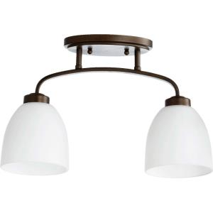 Reyes - 2 Light Semi-Flush Mount in Quorum Home Collection style - 5.25 inches wide by 10.5 inches high
