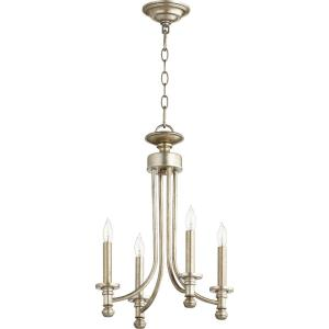 Rossington - 4 Light Chandelier in Quorum Home Collection style - 14 inches wide by 20 inches high
