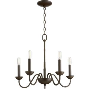 5 Light Chandelier in Quorum Home Collection style - 20 inches wide by 17.5 inches high