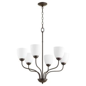 6 Light Chandelier in Quorum Home Collection style - 24.5 inches wide by 27.5 inches high