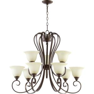 Celesta - 9 Light 2-Tier Chandelier in Quorum Home Collection style - 34 inches wide by 27.5 inches high