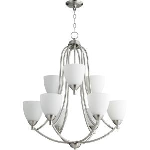 Barkley - 9 Light 2-Tier Chandelier in Quorum Home Collection style - 26.5 inches wide by 32 inches high