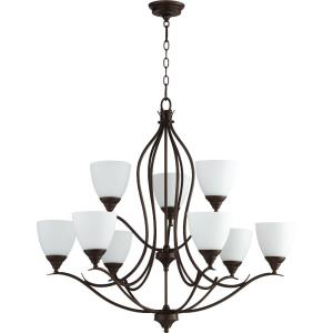 Flora - 9 Light 2-Tier Chandelier in Transitional style - 29 inches wide by 26.25 inches high