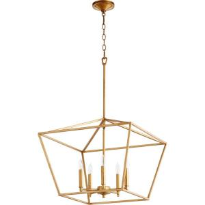 Gabriel - 5 Light Nook Pendant in Quorum Home Collection style - 21 inches wide by 17.5 inches high