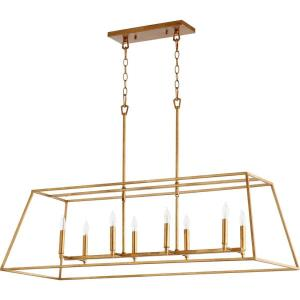 Gabriel - 8 Light Linear Pendant in Quorum Home Collection style - 17.25 inches wide by 13.75 inches high