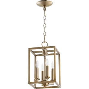 Cuboid - 4 Light Large Entry Pendant in Quorum Home Collection style - 11 inches wide by 17 inches high