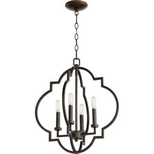 Dublin - 4 Light Pendant in Quorum Home Collection style - 18 inches wide by 21 inches high