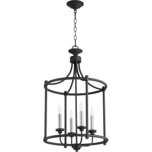 4 Light Large Cage Entry Pendant in Transitional style - 18 inches wide by 30 inches high
