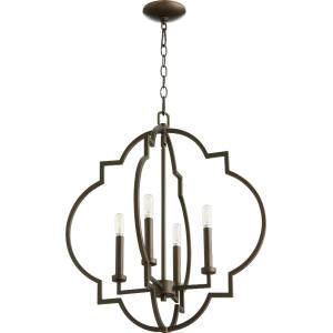 Dublin - 4 Light EntryPendant in Transitional style - 21.5 inches wide by 25 inches high