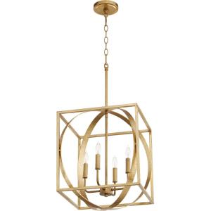4 Light Cube/Sphere Pendant in Soft Contemporary style - 15.5 inches wide by 19.5 inches high